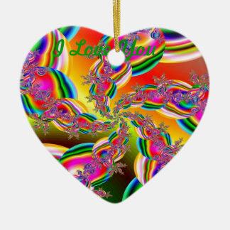Fantasia Rainbow Strings Fractal Ceramic Heart Decoration