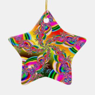 Fantasia Rainbow Strings Fractal Christmas Ornament