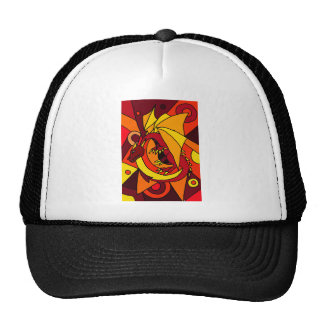 Fantastic Dragon and Fire Abstract Art Design Hats