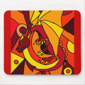 Fantastic Dragon and Fire Abstract Art Design Mouse Pad