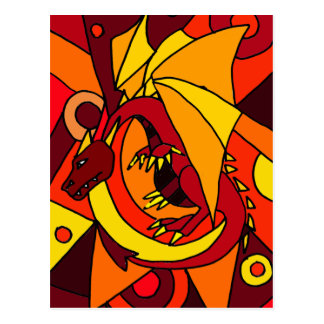 Fantastic Dragon and Fire Abstract Art Design Post Cards