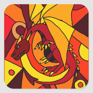 Fantastic Dragon and Fire Abstract Art Design Square Sticker