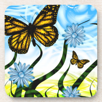 Fantastic Graphic Butterflies Flutter By Collage Beverage Coasters