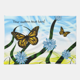 Fantastic Graphic Butterflies Flutter By Collage Hand Towel