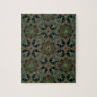 fantastic mandala design,green jigsaw puzzle