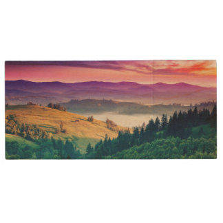 Fantastic Morning Mountain Landscape. Overcast Wood USB 2.0 Flash Drive