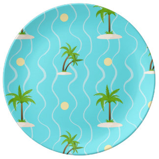 Fantastic palm trees wavy lines pattern plate