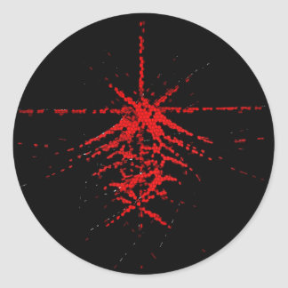 Fantastic Red Abstraction of lines Round Sticker