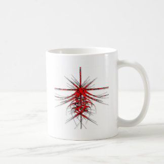 Fantastic Red Abstraction of lines with shone Basic White Mug