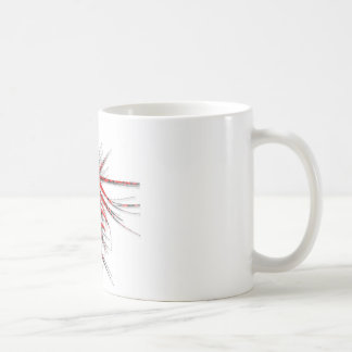 Fantastic Red Abstraction of lines with shone Coffee Mugs