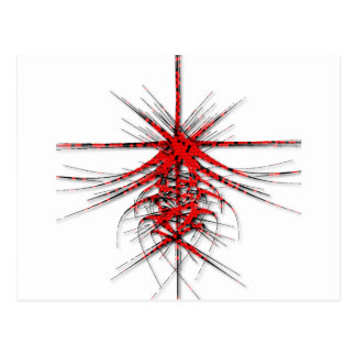 Fantastic Red Abstraction of lines with shone Postcard