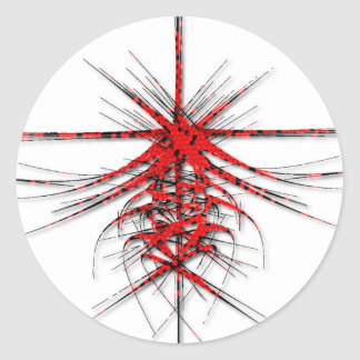 Fantastic Red Abstraction of lines with shone Round Sticker