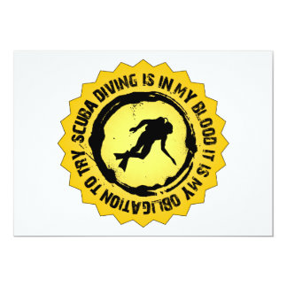 Fantastic Scuba Diving Seal 13 Cm X 18 Cm Invitation Card
