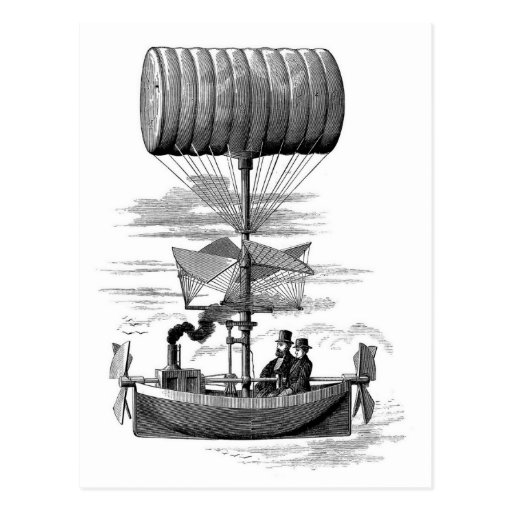 Fantastic Steampunk Airship Balloon Boat Post Card