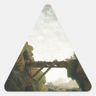 Fantastic View of Tivoli by Hubert Robert Triangle Sticker