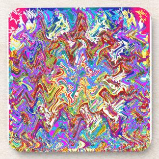 Fantastic Waves Colorful Abstract Art Coaster