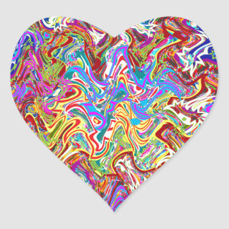Fantastic Waves Colorful Abstract Art Heart Sticker