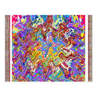 Fantastic Waves Colorful Abstract Art Postcard