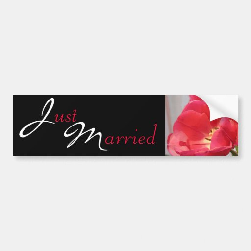 Fantastic Wedding Tulips Just Married Bumper Stickers