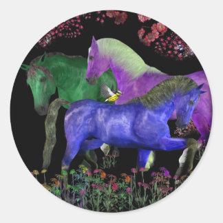 Fantastical colored horse design, black back classic round sticker