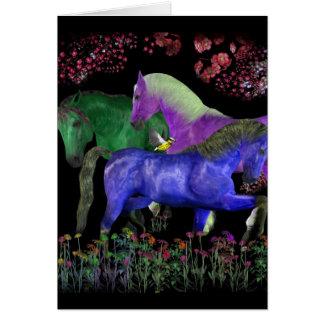 Fantastical colored horse design, black back greeting card