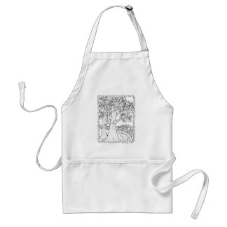 Fantastical Forest Beach Tree Coloring Standard Apron