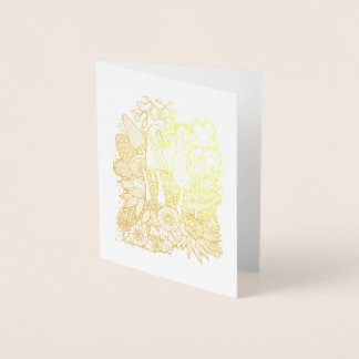 Fantastical Forest Flower Mushrooms Foil Card