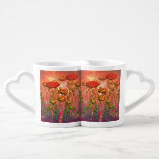 Fantasy alien garden coffee mug set