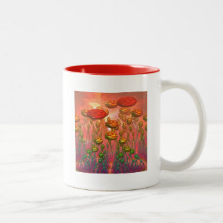 Fantasy alien garden coffee mugs