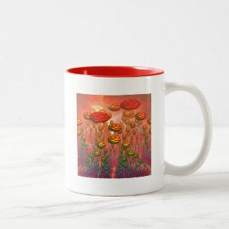 Fantasy alien garden Two-Tone coffee mug