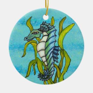 Fantasy Aqua Blue Sea Dragon Seahorse in Seaweed Christmas Ornament