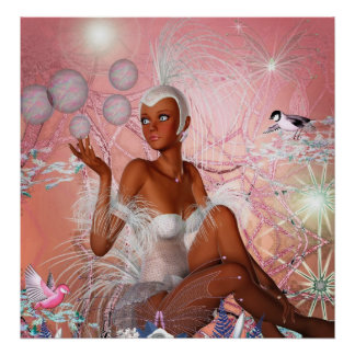 Fantasy Art Poster In The Pink Girl Birds 2