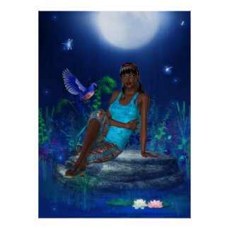 Fantasy Art Poster Moonlight Bird Girl