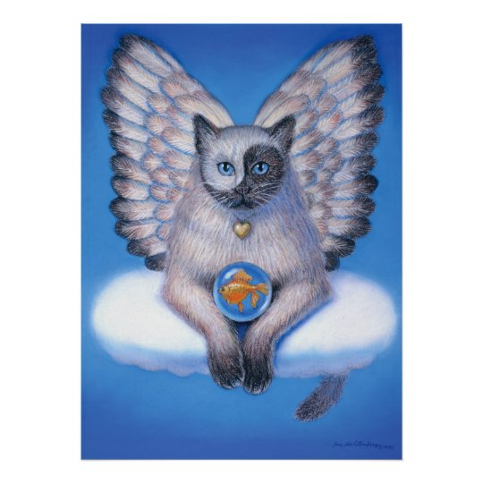 Fantasy Art Poster Yin Yang Cat Zen Buddha Angel