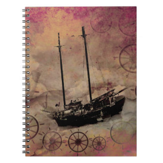 Fantasy Art Steampunk Cloud Ship Journal Spiral Notebooks