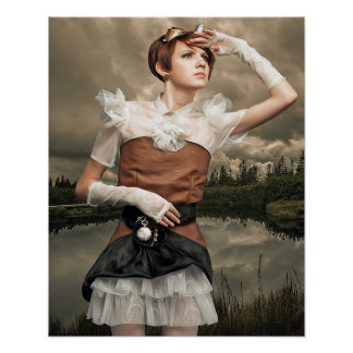 Fantasy Art Steampunk Woman Poster