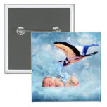 Fantasy baby and stork 15 cm square badge