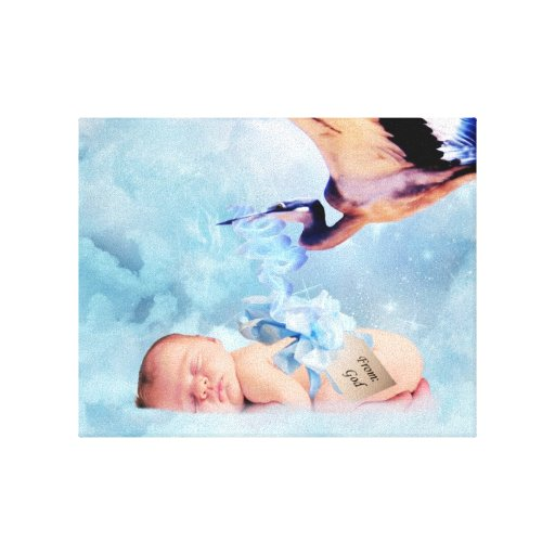 Fantasy baby and stork canvas print