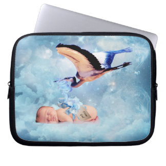 Fantasy baby and stork laptop computer sleeves