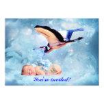 Fantasy baby boy and stork shower invitation