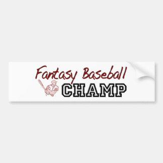 Fantasy Baseball Champ Bumper Sticker