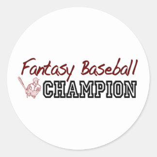 Fantasy Baseball Champion Round Stickers