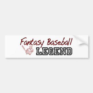 Fantasy Baseball Legend Car Bumper Sticker