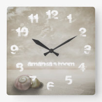 Fantasy Beach themed Personalised Square Wall Clock
