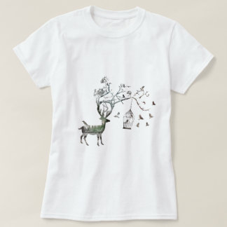 Fantasy Birds with Deer T-Shirt