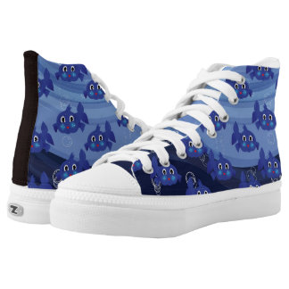 Fantasy blue fat-fish cartoon high tops