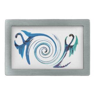 Fantasy Buckle Blue Dragon Swirl Rectangular Belt Buckle