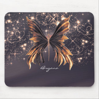 Fantasy Butterfly Gold Sparkle Mouse Pad