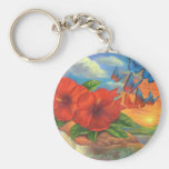 Fantasy Butterfly Landscape Painting - Multi Keychains