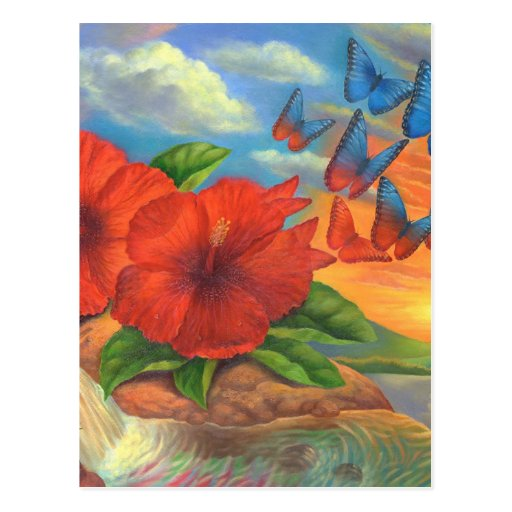 Fantasy Butterfly Landscape Painting - Multi Post Card